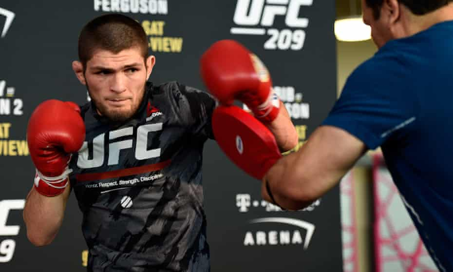 Khabib Nurmagomedov trains before his bout in Vegas: 'I feel a lot of people are waiting for this belt. They want me to win this belt and I'm going to do this for sure.'