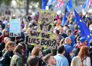 One protester asks: 'Why the lies, Boris?'