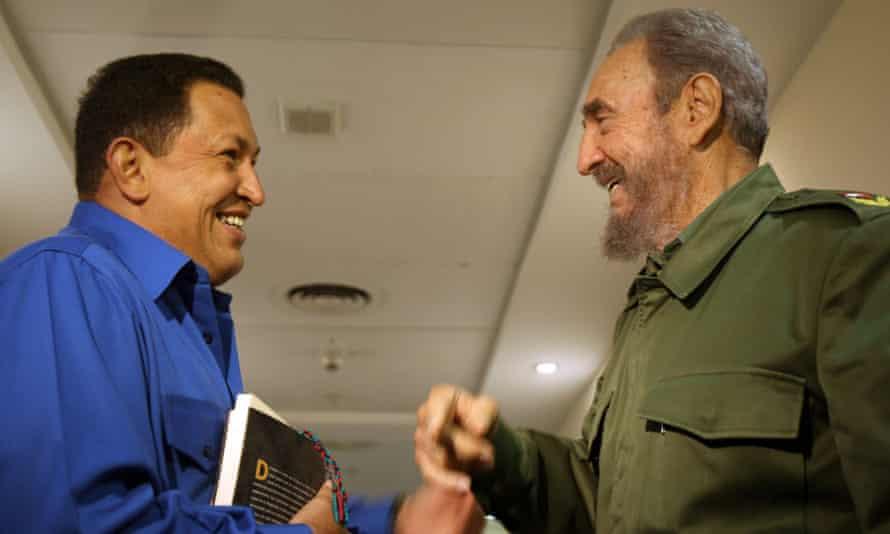 Castro with Venezuelan president Hugo Chavez.