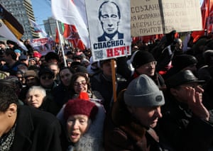 An anti-Putin protest in Moscow in 2012.