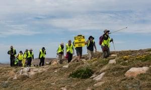 Members of the group Save Kosci reaching their destination Mt Kosciuszko