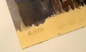 The signature of Adolf Hitler at the painting Prague in the Fog is pictured in the Weidler auction house in Nuremberg.