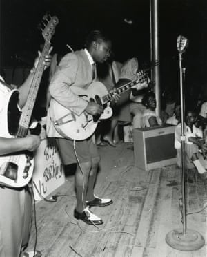 B.B. King Performing on stage at The Hippodrome, Beale Street in Memphis, TN, with Bill Harvey, c. 1950