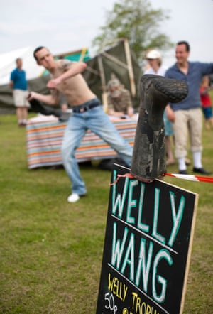 A welly-wanging contest in an English village.