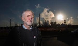 Jeremy Corbyn at the Tata Steel plant in Port Talbot, 2016
