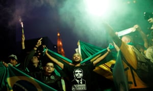 Bolsonaro supporters celebrate his election in Sao Paulo.