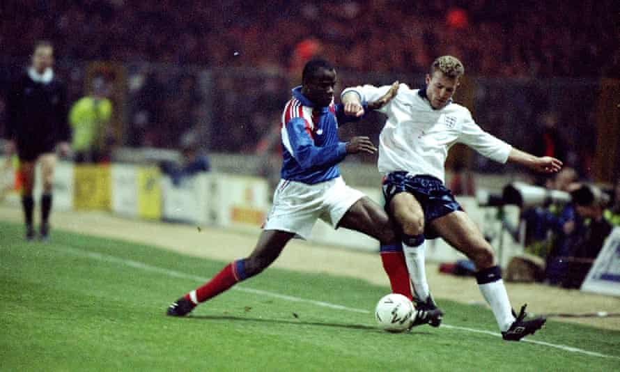 Basile Boli tackles Alan Shearer at Wembley in February 1992