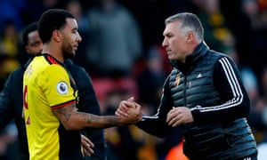 Watford's striker Troy Deeney (left) and Watford's manager Nigel Pearson at the final whistle.