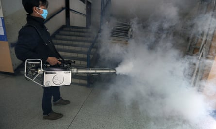 A chemical spray is used to kill mosquitoes in Sathon district in Bangkok, Thailand