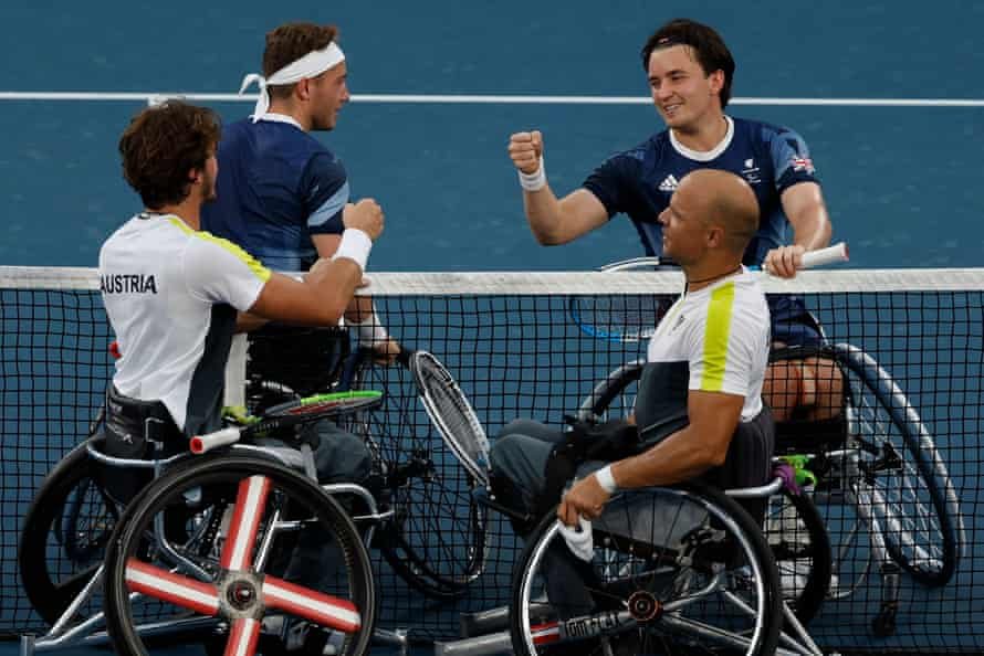 Alfie Hewett and Gordon Reid are congratulated on their win by Thomas Flax and Nico Langmann of Austria.