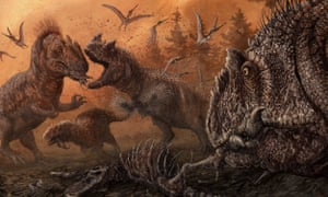 Depiction of dinosaurs in a stressed Late Jurassic environment