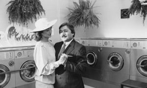 Saeed Jaffrey with Shirley Anne Field in My Beautiful Laundrette, 1985.