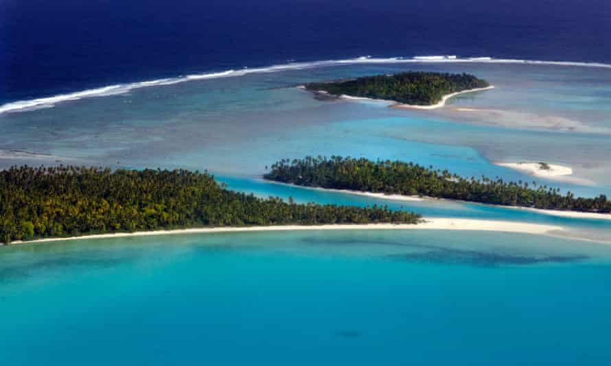 Aerial view of One foot island in the Cook Islands. The country's prime minister has awarded himself 17 portfolios, including natural resources and seabed minerals.