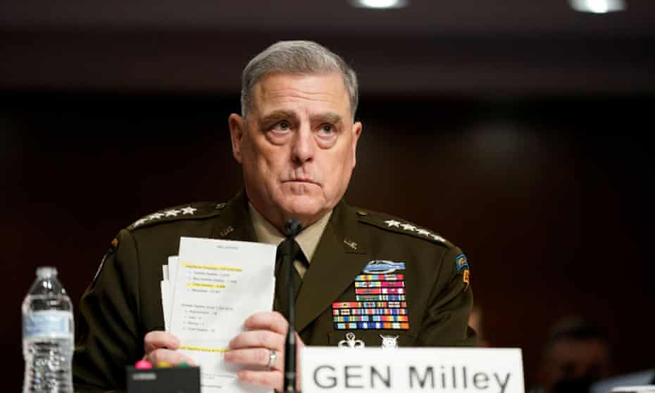 Milley at the hearing on Tuesday. The general said his two calls with the Chinese army chief followed intelligence suggesting China was fearful of an attack, and were intended to defuse tensions.