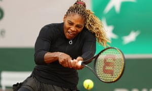 Serena Williams plays a backhand during her first-round victory over Kristie Ahn.