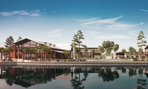 An impression of the town square at the Babcock Ranch development in Florida.