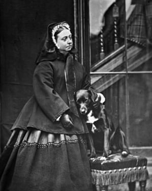 Queen Victoria with her pet dog, named Sharp, at Balmoral in 1867.