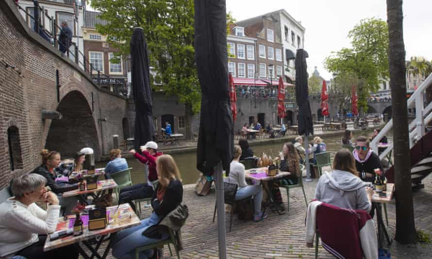 Customers at a cafe terrace in Utrecht last week.