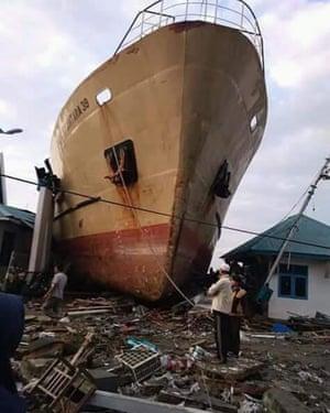 A ship swept ashore by the tsunami.