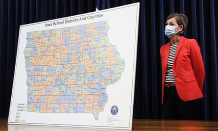 The Iowa governor, Kim Reynolds, during a news conference on the state's guidance for returning to school in response to the coronavirus outbreak in Des Moines, Iowa.