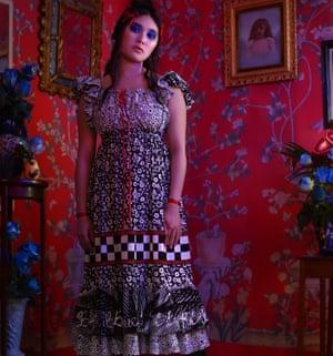 Blue roses dress on a model