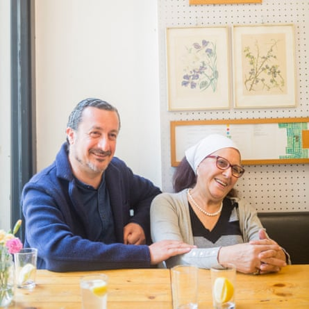 Kamal Mouzawak with cook Maria Doueihy in his Beirut restaurant Tawlet.