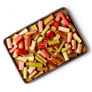 Chop the rhubarb and toss with the sugar.