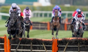 My Drogo ridden by Harry Skelton clears the last before winning the Betway Mersey Novices' Hurdle.