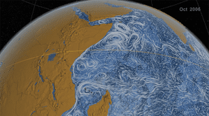 Nasa visualisation of ocean currents in the Indian Ocean, showing the Great Whirl off the coast of Somalia.