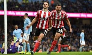Southampton's Shane Long celebrates scoring against Manchester City.