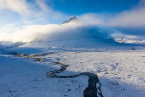 A cold front brought the first snowfall to the Scottish Highlands