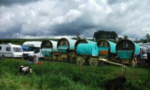 Traditional bow-top caravans at Appleby Fair.