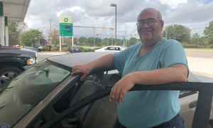 """Michael Horner's gas tank is on empty so he can't move until gas is delivered to this station in Wilmington, North Carolina. """"I am trapped, I'm stuck here,"""" he said."""