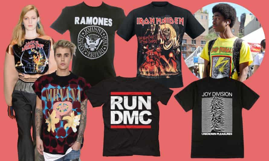 Clockwise from left: Balenciaga, Paris 2012, Ramones and Iron Maiden T-shirts, an image from Band of Shirts, Joy Division and Run-DMC T-shirts, and Justin Bieber in a Patrick Matamoros 'Nirvana' T-shirt.