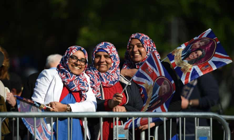 Well-wishers during Harry and Meghan's wedding.