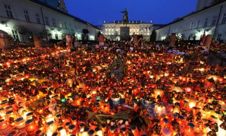 Candles lit in tribute to Lech Kaczyński outside the presidential palace in Warsaw, after his death in the 2010 Smolensk air crash.