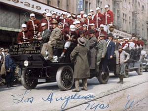 The Boston Red Sox players on an automobile tour in Los Angeles in 1911.