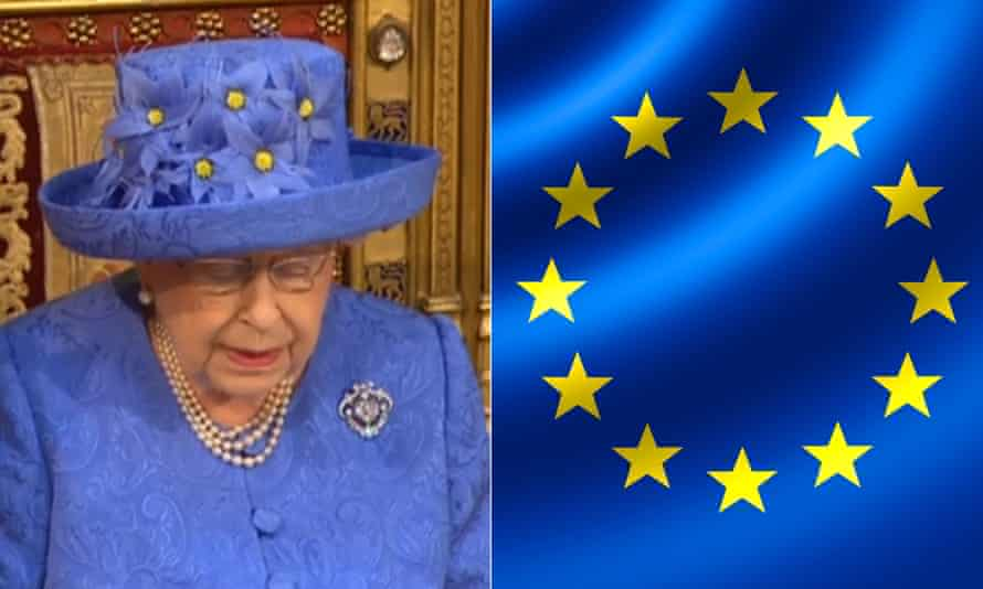 The Queen in her purple-blue hat with gold decoration, left, and the blue and yellow EU flag