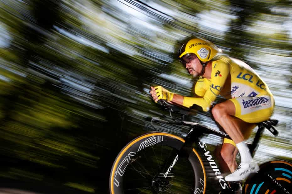 Deceuninck-Quick Step rider Julian Alaphilippe, wearing the overall leader's yellow jersey, in action during the thirteenth stage, an individual time trial over 27.2 kilometers with start and finish in Pau.
