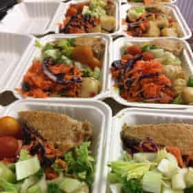 Lunch boxes that have been prepared at Solhaven using the organic farm produce.