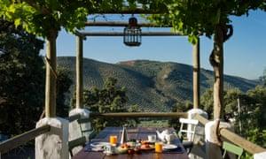 breakfast table and hillside views, Finca Las Encinas, near Córdoba