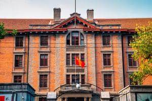 Peking University Red Building historic architecture in Beijing, China.