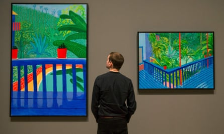 Hockney's Two pots on the Terrace 2016 (left) and Garden #3, part of a retrospective of his work at Tate Britain.