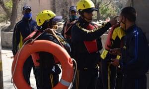 State Disaster Response Fund staff prepare for deployment in Srinagar, Uttarakhand.