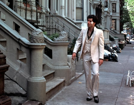 An outfit made for strutting … John Travolta in Saturday Night Fever, 1977.