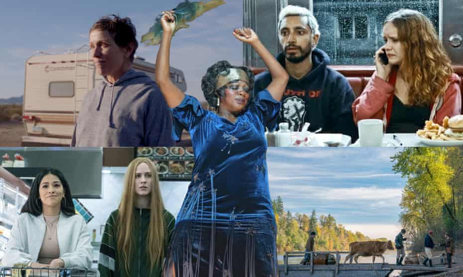 Clockwise from top left: Frances McDormand in Nomadland, Viola Davis in Ma Rainey's Black Bottom, Olivia Cooke and Riz Ahmed in Sound of Metal, a scene from First Cow and Gina Rodriguez (left) and Evan Rachel Wood in Kajillionaire.