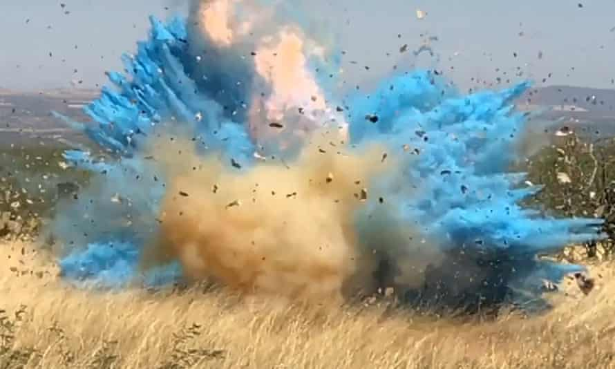 In this frame grab from a April 23, 2017, video provided by the US Forest Service, a gender reveal event ignited the 47,000-acre Sawmill Fire.