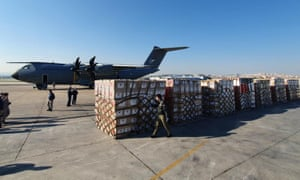 Parcels of medical equipment to be donated by Turkey to help the US fight coronavirus.