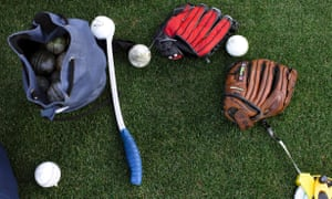 A different game: catching practice gear has changed a bit over the years.