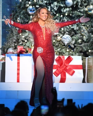 Performing at her All I Want For Christmas Is You tour at Madison Square Garden, New York, wearing a dress inspired by the one worn by her childhood idol Marilyn Monroe, in Gentlemen Prefer Blondes.